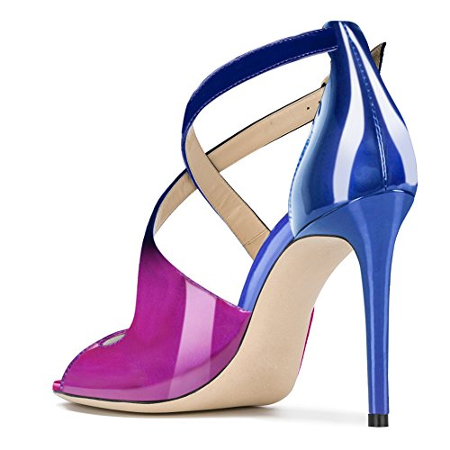 Damen Peep Toe Criss Cross Sandalen Glitzer Pailletten Stiletto High-Heels Lack Violett