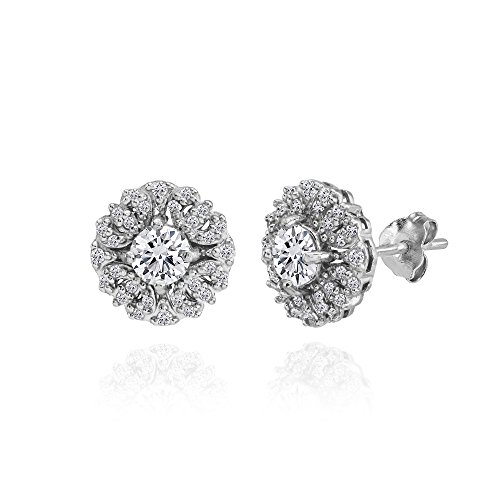 Sterling Silver Cubic Zirconia Round Flower Cluster Stud Earrings Round Prong Set Cluster Earrings