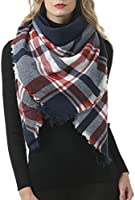 botlav Womens Blanket Scarf Scottish Plaid Blankets Winter Warm Fashion Scarves Oversized