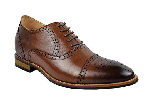 Zerimar Zapatos con Alzas Interiores Para Caballeros Aumento 7 cm Zapato Confeccionado EN Piel de Alta Calidad Color Cuero Talla 41