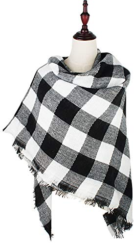 VIVIAN & VINCENT Women's Plaid Blanket Winter Scarf Warm Wrap Oversized Shawl Cape Black White ()