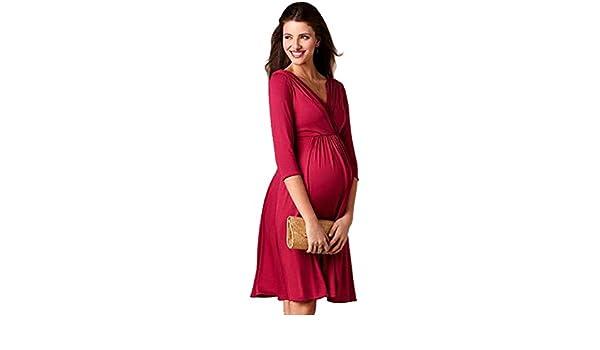 Binhee Desgaste De Maternidad Para Mujer Estire Vestidos De Fiesta Puros Del Color Del Embarazo: Amazon.es: Ropa y accesorios
