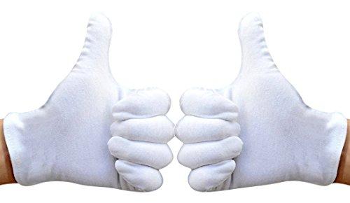 White Cotton Gloves, Matte 100% Cotton Stretchy Wrist Length Plain Blank Thin Gloves 6 Pairs