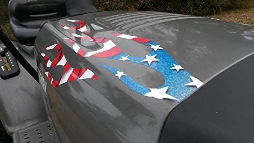 East Coast Vinyl Werkz Flame Decals 6pc Set - Stars and Stripes for Riding Lawn Mower Tractor John Deere Craftsman Murray Poulan Husqvarna