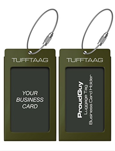 - Luggage Tags Business Card Holder TUFFTAAG Travel ID Bag Tag in Many Color Options (2 Tags, Military Green)