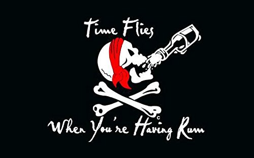 Skull Pirate Flag, TOWEE 3 x 5 Ft 100% Polyester Time Flies When You Are Having Run Pirate Flags with Metal Rings for Sailing, Boating, Garden, Bar, Ghost House, KTV and Other Outdoor Activities]()
