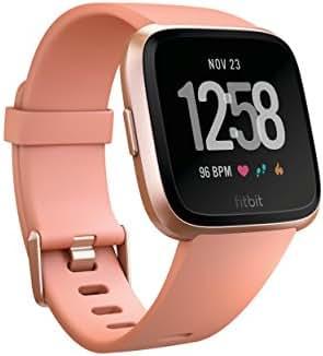 Fitbit Versa Smart Watch, Peach/Rose Gold Aluminium, One Size (S & L Bands Included)