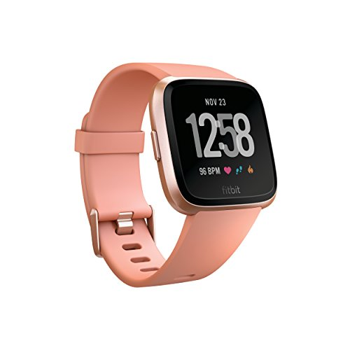 Fitbit Versa Smart Watch, Peach/Rose Gold Aluminium, One Size (S & L...