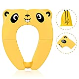 Travel Portable Potty Seat for Kids Non-Slip Foldable Toilet Seat Cover Toddlers Pad with Carry Bag & Splash Guard (Yellow)