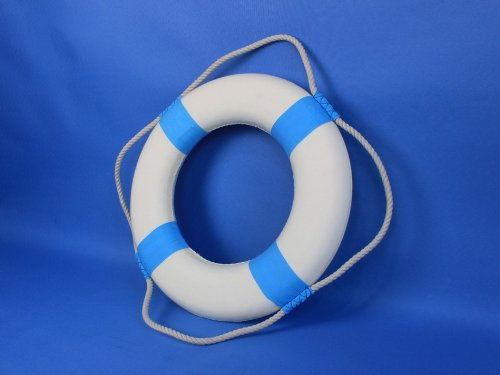 Decorative White Lifering with Light Blue Bands 15'' - Beach Decoration - Life Ring by Handcrafted Model Ships (Image #6)