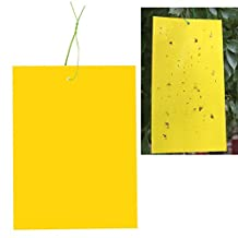 """SYOOY 20 PCS Dual-Sided Yellow Sticky Traps for Flying Plant Insect Like Fungus Gnats Aphids Whiteflies Leafminers Thrips Fruitflies (Twist Ties Included) 6"""" x 10"""""""