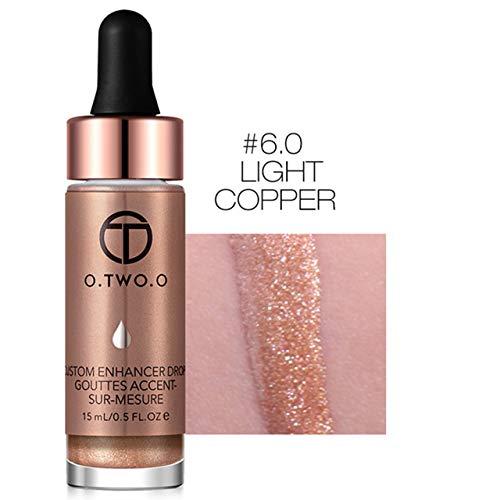 Face Glow Liquid Highlighter Waterproof Contour Make Up Glitter Brighten Shimmer Highlighters Makeup(#6.0 LIGHT COPPER) (Foundation Copper Powder)