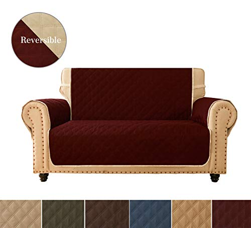 Sofa Cover, Reversible Quilted Furniture Protector, Ideal Loveseat Slipcovers for Pets & Children, Water Resistant, Will Keep your Couch Stain, Dirt & Scratches-Free | Ultrasonic Oblique Grid Burgundy ()