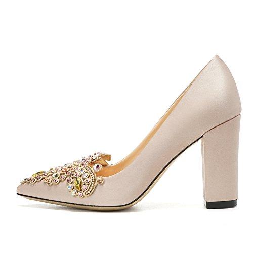 Zapatos Estable cómodo MS Bloque Tacones Rhinestones Corte no Rosa Decorados Champagne talón 9cm Toe Gold y Squat Altos puntales 443 wqqpAxnX71