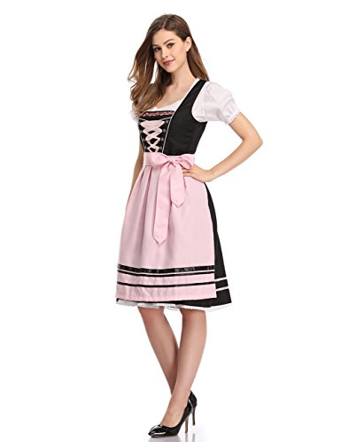 Clearlove Women's Bavarian Costume Women Dress Beer Girl Costume for Oktoberfest Black with Pink L
