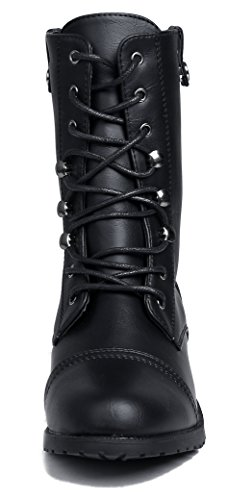 Stiefel Schnüren Absatz Halbschaft PU AgeeMi Niedriger Shoes Stiefel Damen xXSa7qYp