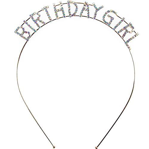 Elehere Rhinestone Birthday Girl Tiara Headband Headpiece Sparkly Gold Girls Party Hair Accessories Crystal Princess Tiara Crowns -