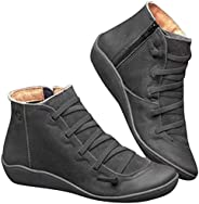 Arch Support Boots Women's Fall and Winter Leisure Side Zipper Boots lace Boots Waterproof Retro Round Toe