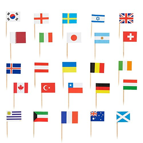 200 Count International Flag Picks - Party Cocktail Toothpicks for Food, Appetizer, Cocktail, Cupcake Decoration for International Sporting and Ethnic Events, 2.5 x 1.375 Inches