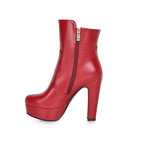 AllhqFashion Damen Rein PU Leder Hoher Absatz Reißverschluss Rund Zehe Stiefel, Rot, 37