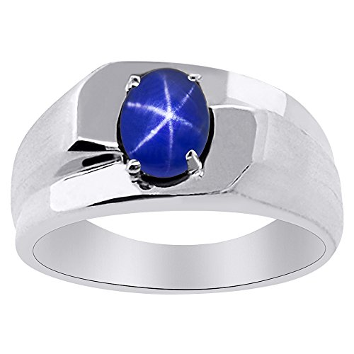 Solitaire Blue Star Sapphire Ring Sterling Silver or 14K Yellow Gold Plated Silver (Yellow Sapphire Men Ring)