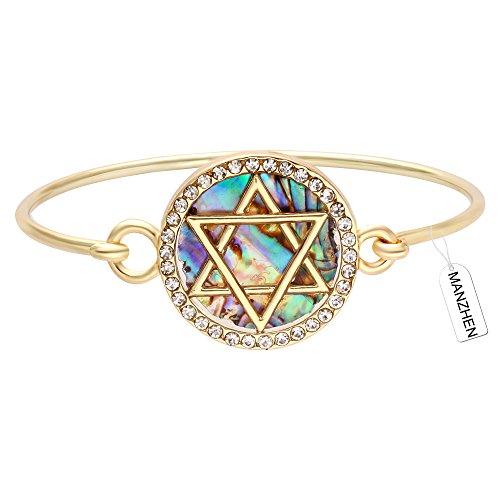 Bangles Bangle Shell (MANZHEN Jewish Charm Star of David Abalone Shell Wire Openable Crystal Bangle Bracelet(Gold))