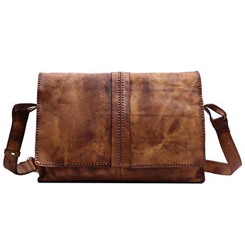 Leathario bolso bandolera para hombres de estilo clásico con La primera capa de cuero de caballo loco para diario viaje o trabajo. marrón claro