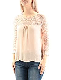 59 Womens New 3095 Pink Lace Jewel Neck 3/4 Sleeve Casual Top 1 B