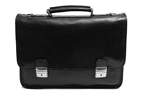 Alberto Bellucci Milano Mens Italian Leather Rimini Flapover Double Compartment 17