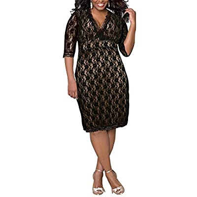 Lover-Beauty Women's Plus Size 3/4 Sleeve Lace Dress Cocktail Party Dress