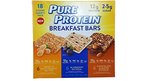 Pure Protein Breakfast Bar, 18 Count variety pack Cereal Bars, 6 Sweet & salty peanut butter , 6 blueberry oatmeal, 6 chocolate almond oatmeal ,Excellent Source of Fiber and Protein, Gluten Free