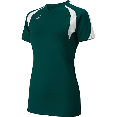 Mizuno Womens Techno Volley III Short Sleeve Volleyball Jersey - SIZE: X-Large, COLOR: Forest/White