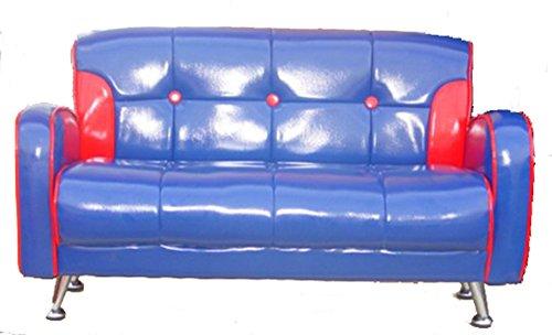 Blue Vinyl Sofa - 8