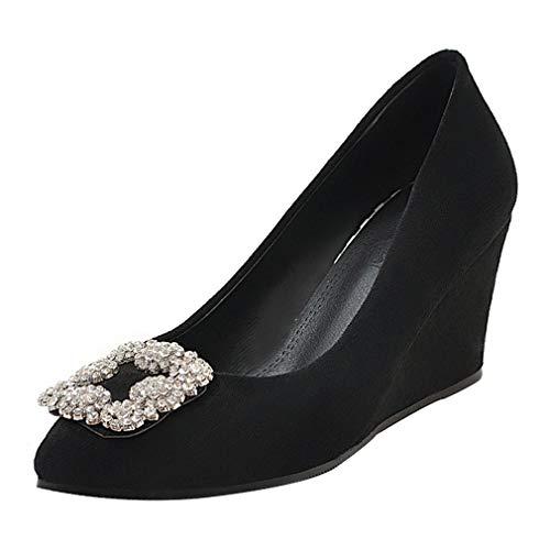 Compensées Élégants Femme Fermé On Black Avec Vitalo Slip Chaussures Bout Strass E7axaYq