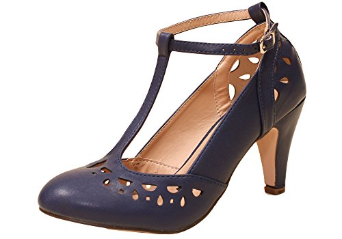Sidecca Retro Vintage Inspired Cutout T-Strap Mary Jane Heel Pump (7, - Cut Inspired Out