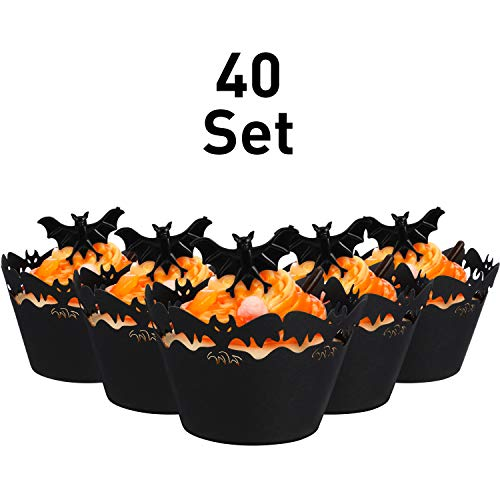 Halloween Cakes Cupcakes (40 Sets Cupcake Wrappers Bake Cake Paper Cups and Plastic Rings Toy Rings Decorate Cake Decorative Accessories for Halloween Party (Bat, Black Bat)