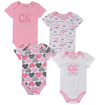 Calvin Klein Baby-Girls 4 Pieces Pack Bodysuits Rompers - Multi - 0-3 Months