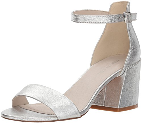Kenneth Cole New York Women's Hannon Block Ankle Strap Heeled Sandal, Silver, 7 M US (Strap Ankle Women)