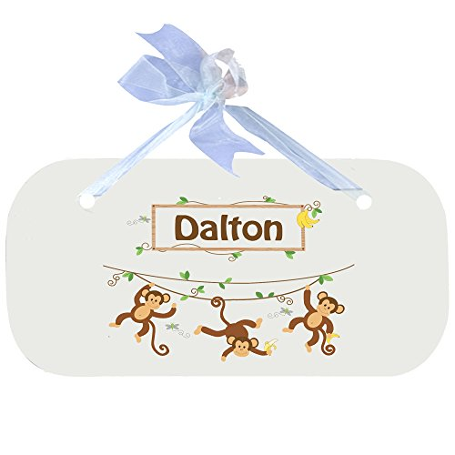 Personalized Monkey Boy Wooden Door Hanger With Blue Ribbon by MyBambino (Image #1)