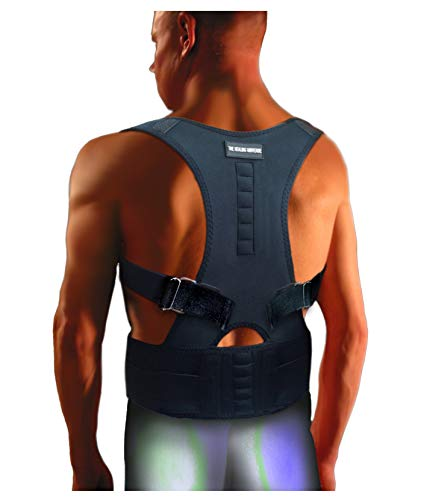 The Healing Universe Head Forward Posture Corrector - The Back Brace - Back Posture Corrector Brace - Adjustable Back Shoulder Chest Support - Best for Back Support - Relieve Spine Pain (L, Black) (Best Pain Relief For Bruised Ribs)