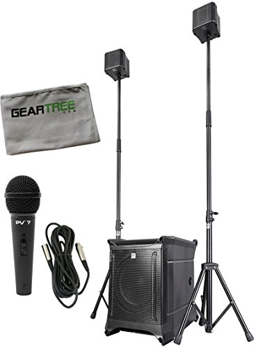 HK Audio LUCASNANO602 Ultra-compact 2.1 PA System with Stereo Input w/ Mic, Cable, and Geartree Cloth by Hk Audio