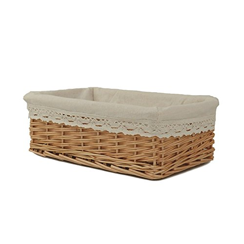 Lined Wicker (RURALITY Plain and Elegant Wicker Storage Basket with Liner,Small)