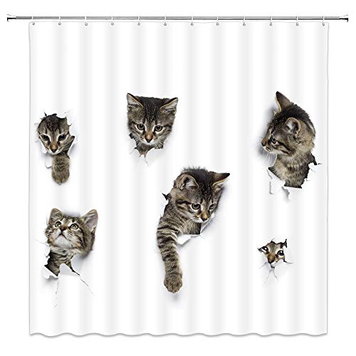 Animals Group - Lovely Cat In Wallpaper Hole Decor White Shower Curtain Fun Animals A Group Of Cute Kitten 3D Art Design Pet Picture,70x70 Inch Waterproof Polyester Fabric Bathroom Accessories Curtains With Hooks
