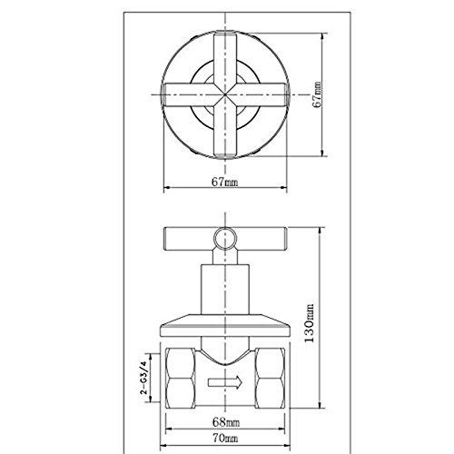 Weirun Brass G3/4 Water Shower Home Plumbing Shut Off Flow Control Valve Straight Replacement Part with Cross Handle 2 Pcs , Chrome