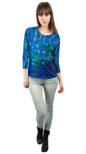 """Yizzam - Monet - """"Blue Water Lilies…""""- New Ladies Womens 3/4 Sleeve"""