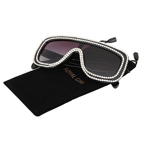 ROYAL GIRL Flat Top Oversized Square Sunglasses For Women Crystal Circle Embellished Glasses (Grey Gradent, 63) - Embellished Square