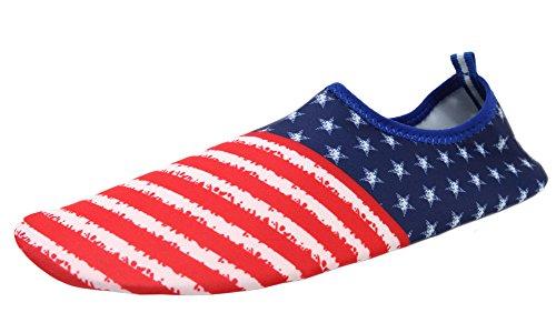 LANBAOSI Mens Summer Outdoor Water Shoes Aqua Socks Lightweight Barefoot Shoe Blue Red cPXEa