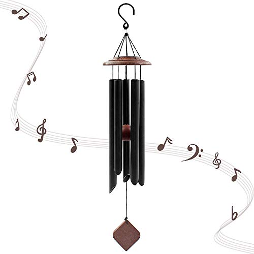 Cesun 25 Inches Wind Chime with 5 Metal Tubes, Soothing Melodic Tone Hanging for Garden Decoration Medium Size (Black) (Best Melodic Black Metal)
