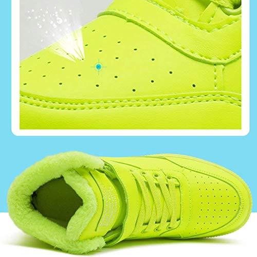 Scarpe 40 Velcro A Sneakers Sneaker Slittata Casual Traspirante Collo Corsa Testa Alto Tinta Pelliccia Sportive 35 Donna Con Stringate Junkai Da Verde Rotonda Unita Zeppa Y0BqB