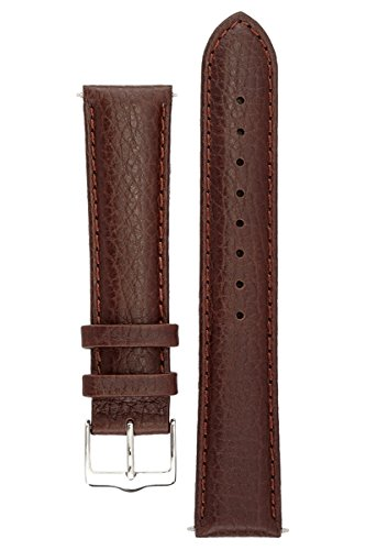 Signature Buffalo in Coffee 21 mm Watch Band. Replacement Watch Strap. Genuine Leather. Silver (Buffalo Strap)